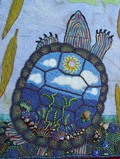 Going In:Bead Embroidery Turtle