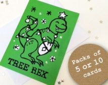 Tree Rex Dinosaur Funny Christmas cards pack of 5 or 10 (From Linocut) Kawaii Christmas Card  Multipack Cute Christmas cards Lino print xmas