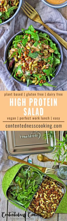 My new High Protein Salad is exactly right for you, if you have been looking for healthy salad recipes and high protein recipes. Now you get them all-in-one in this vegan and gluten free recipe. All your questions about how vegans get their protein will be answered.