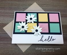 A fresh, modern spin using pastels on this hello card by Mary Fish. Watercolor Wishes kit makes it easy. Order Stampin' Up! on-line.