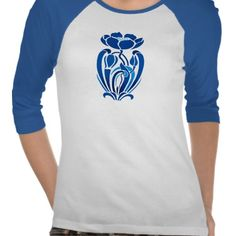 art nouveau blue flowers t shirts #artnouveau #fashion