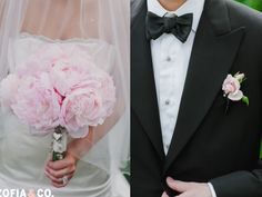 Perfect pink color for the bridesmaids with classic tux