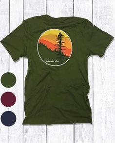 being out on the trail during the golden hour always brings a sense of awe and calm. our timber design was inspired by that magic moment when you become coexist with the beauty and serenity of our natural home.  the timber design is available as a short-sleeve t-shirt in 100% cotton navy blue and olive green, or as a long-sleeve t-shirt in 100% cotton navy blue, olive green and maroon.  casual fit, short-sleeve unisex crew-neck t-shirt.  xs~s~m~l~xl~xxl  100% cotton