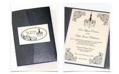 Eva Pocket fold Vintage Wedding Invitation by EmbellishedPaperie, $7.50