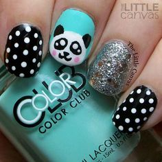 Puuuurfect Cat Manicures Nail Designs For Catlovers Panda nail art! Love this little guy. The mint polish is Blue-Ming! Such a fabulous color. Love this little guy. The mint polish is Blue-Ming! Such a fabulous color. Nail Art Designs, Girls Nail Designs, Manicure Nail Designs, Nail Manicure, Nail Polish, Gel Nail, Panda Bear Nails, Panda Nail Art, Animal Nail Art