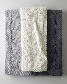 -43S8 Cable-Knit Throw #HORCHOW These look so comfy for any room.