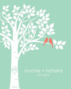 Mint and Coral Wedding Guest Book Alternative  Family Tree by karimachal on Etsy, $32.00
