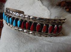 Native American Jewelry Zuni petit point bracelet sterling #ecochic #nativeamericanjewelry