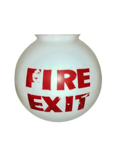 Old Mid-Century Fire Exit Glass Shade From Theater on Chairish.com