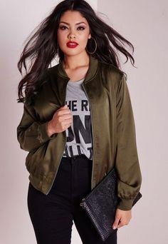 Plus Size Silk Bomber Jacket