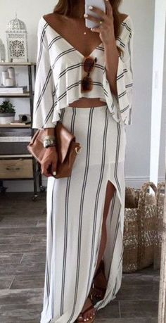 White Striped Bandeau Backless Boat Neck Sexy Maxi Dress