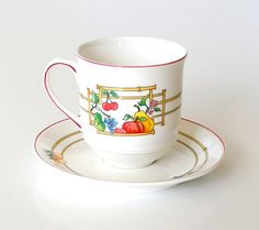 Vintage Villeroy and Boch Mon Jardin Coffee or  Teacup. V&B Luxembourg China Coffee Mug and Saucer Set by retrogroovie on Etsy