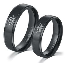 HER KING and HIS QUEEN Stainless Steel Promise Rings