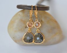 Charcoal Teardrop and Champagne Peach Jewelry Drop by RusticGem