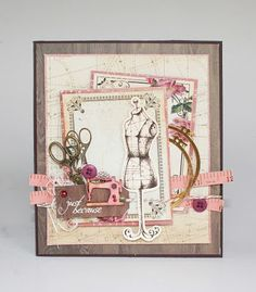 Card created with the Madmosielle collection for Kaisercraft's July challenge. Created by Kirsten Hyde. Sewing Cards, Step Cards, Beautiful Handmade Cards, Art Journal Pages, Junk Journal, Handmade Birthday Cards, Fall Cards, Graphic 45, Card Tags