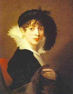 1808 Countess Sophia Stroganoff by Jean-Laurent Mosnier (Russian Museum, St. Petersburg).  Countess Stroganoff wears a Rubenesque version of a cherusque with a dark dress having upper-puffed sleeves.