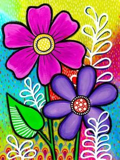 This Would also Make an Incredible Art Project on Canvas! Painting For Kids, Art For Kids, Flower Doodles, Whimsical Art, Fabric Painting, Doodle Art, Diy Art, Painted Rocks, Flower Art