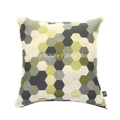 Modern Geometric Shaped Pattern Black Grey Green Fabric Filled Cushion & Coverr - 4 sizes Available - Cushion Cover Only