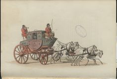 The Royal Mail WH Pyne, 1805.  The introduction of specially designed mail coaches for a postal service was a relatively recent wonder in 1807. Inn keepers, by law, had to ensure that parcels of letters were ready as the coach  would not wait. The service more than halved the time letters had previously taken to reach destinations. The coachman and armed guard wore royal livery.