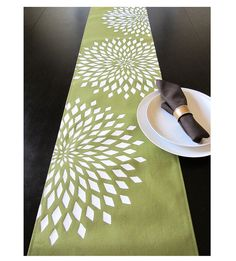 Graphic Zinnia Table Runner  Avocado by celineandkate on Etsy, $42.00