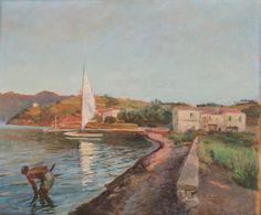 """FILIPPO MARFORI SAVINI (Urbania 1877 – Firenze 1952) OLIO su tavoletta """"paesaggio lacustre con personaggio"""", firmato in basso a destra."""