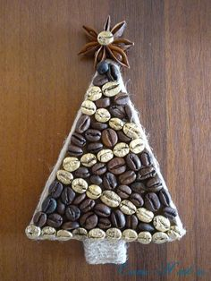 Coffee Christmas trees magnets on the fridge