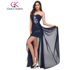 Grace Karin Long Evening Dress Short Front Long Back Strapless Chiffon High Split Red Navy Blue Special Occasion Dresses 2017