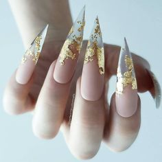 Stunning Gold Foil Nail Designs to Make Your Manicure Shine ★ See more: glamin. - Nail Design Ideas, Gallery of Best Nail Designs Foil Nail Art, Foil Nails, Nail Swag, Foil Nail Designs, Exotic Nail Designs, Clear Nail Designs, Stiletto Nail Art, Stiletto Nail Designs, Pointy Nails
