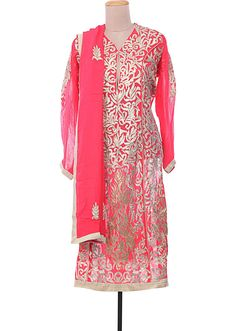 Coral georgette semi-stitched suit embellished in gotta patti only on Kalki