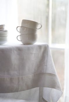 White Linen Table Cloth U0026 Large Coffee Cups