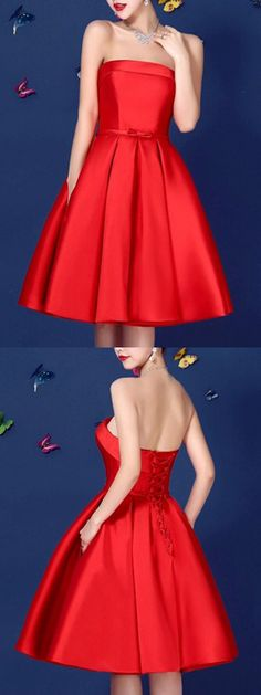Red Bowknot Waist Lacing Back Strapless Prom Skater Dress