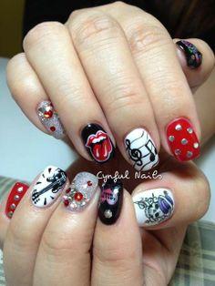 rock n roll nail art ft. Mac Nails, Nails Polish, Holiday Nail Designs, Nail Art Designs, Halloween Designs, Love Nails, Pretty Nails, Hippie Nails, Skull Nails
