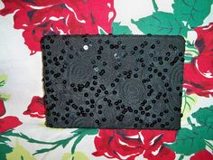 Vintage 1940s Black Embroidered Swirl Evening Bag Clutch Purse Sequins by BlackRain4, $39.99