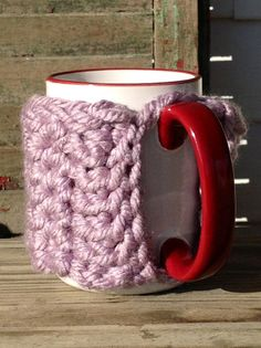 Purple mist mug hug crochet cup sweater by TraylorCrafts on Etsy