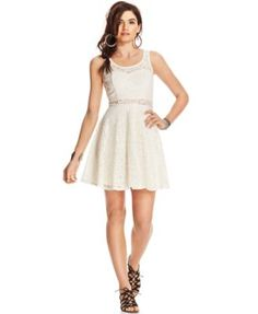 American Rag Lace Illusion Skater Dress, Only at Macy's