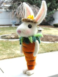 9 Tall Needle Felted Spring Rabbit  Carrot by TheWhimsicalWarren, $49.95