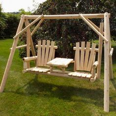 Lawn Swing, Wood Swing, Yard Furniture, Rustic Furniture, Quality Furniture, Furniture Ideas, Outdoor Furniture, Porch Swing With Stand, Northern White Cedar
