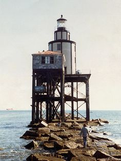 Galveston Jetty Lighthouse, TX - destroyed in storm, 2000.  Picture by Daniel McCaskill, 1982