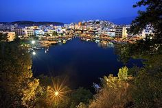 Crete, Aghios Nikolaos by night Beautiful Places In The World, Places Around The World, Around The Worlds, Crete Island, Greece Islands, Places To Travel, Places To Go, Crete Holiday, Greek Culture