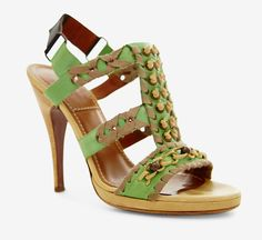 Lanvin Green, Taupe And Cream Sandal