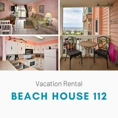 Beach House 112 is a two-bedroom, two-bath side-ocean view condo. Three TVs (40-inch flat) and Wi-Fi are also provided. Sleeping accommodations include one queen and one twin-sized bed plus a twin-over-double bunk bed set. The common area includes a swimming pool, sun deck, beautifully landscaped grounds, and on-site coin-operated laundry. Limit one parking pass. No elevators. No golf carts. No trailers. No smoking. No pets. Check-out maid service included. Linens included. Maximum… Bunk Bed Sets, Double Bunk Beds, Coin Operated Laundry, Common Area, Golf Carts, Two Bedroom, Vacation Rentals, View Photos, Trailers