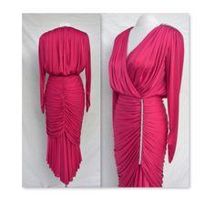 Fantastic fuchsia pink 80's gathered cocktail dress- draping marvel! Rhinestone accents- waterfall hem-  sz 9/10-Susan Roselli for Vijack NY