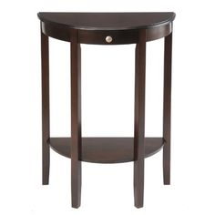 Bay Shore Collection Half Moon/Round Hall Table, Espresso by Bay Shore Collection. $99.00. Perfect for entry ways or hallways. The table measures 32.5-Inch height by 23.5-Inch width by 11.7-Inch deep. A great spot to put the keys, the mail or a beautiful potted plant. Made from china maple, a renewable resource. Lower shelf is great for decorating. The bay shore collection half moon/round hall table is perfect for entry ways or hallways which need a place to say hello. A great s...