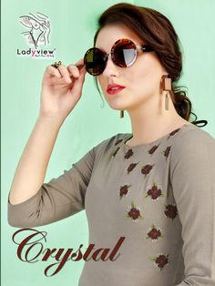 Lady View Crystal Fancy Kurties Collection At Wholesale Rate Surat Embroidery On Kurtis, Hand Embroidery Dress, Kurti Embroidery Design, Cotton Kurtis Online, Crystal Embroidery, Kurti Collection, Fancy, Beautiful Girl Image, Girls Image