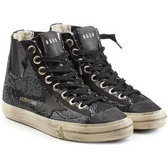 Golden Goose V Star 1 High Top Sneakers (1,375 SAR) ❤ liked on Polyvore featuring shoes, sneakers, black, leather sneakers, black leather shoes, black shoes, high top sneakers and golden goose high tops