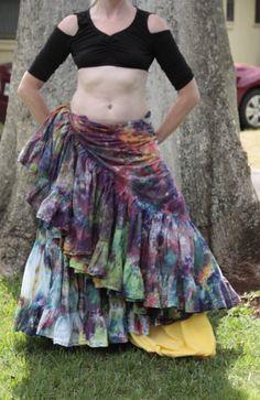 Tie dyed 25 yard skirt rainbow by shinnysquirrel on Etsy, $90.00