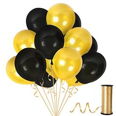 Pack of 100 Gold and Black Metallic Balloons for Bachelorette Party Decorations Class or Family Reunion Fancy Birthday Anniversary Graduation or Baby Shower - Gold/Black - Metallic Balloons, Pink Balloons, Latex Balloons, Little Mermaid Party Supplies, Little Mermaid Parties, Balloon Box, Balloon Ribbon, Paper Fan Decorations, Christmas Party Decorations
