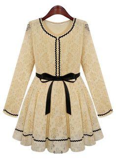 Apricot Long Sleeve Contrast Trims Belt Lace Dress