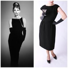 Audrey Hepburn, Breakfast at Tiffany's Little Black Crepe Dress} Breakfast At Tiffanys, Crepe Dress, Crinkles, Audrey Hepburn, Lbd, Get The Look, All Things, 1960s, Cold Shoulder Dress