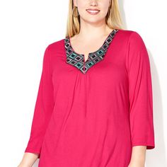 Flatter your backside with a top that conceals problem areas like the plus size Diamond Embroidered Hi Lo Top available online at avenue.com. Avenue Store
